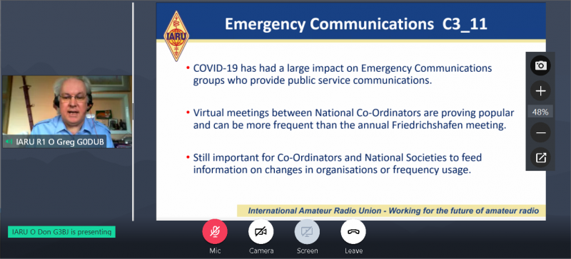 Emergency communication presentation from Greg Mossop, the IARU-R1 Emergency Communication Coordinator, on the IARU-R1 virtual Conference