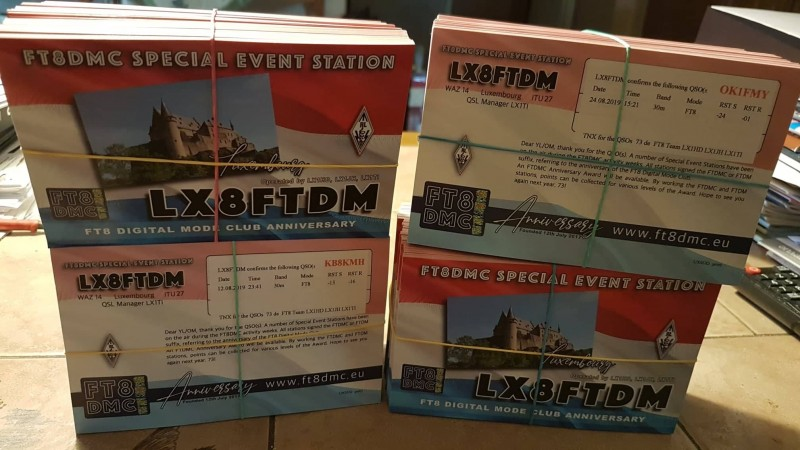 A number of special event stations have been on the air during the FT8DMC activity weeks 🥳 An FTDMC Anniversary Award will be available, as well as your cards which will leave Luxembourg's QSL bureau these days..