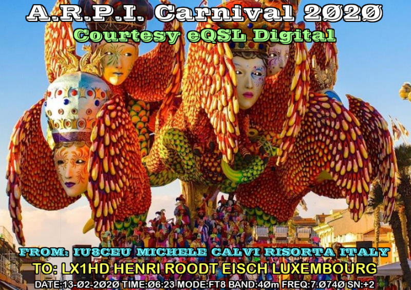 A:r.P:i. Carnival 2020<br />These e-qsls received via e-mail